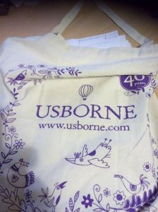 A beaitofull;y decorated Usborne bag containing a paper script